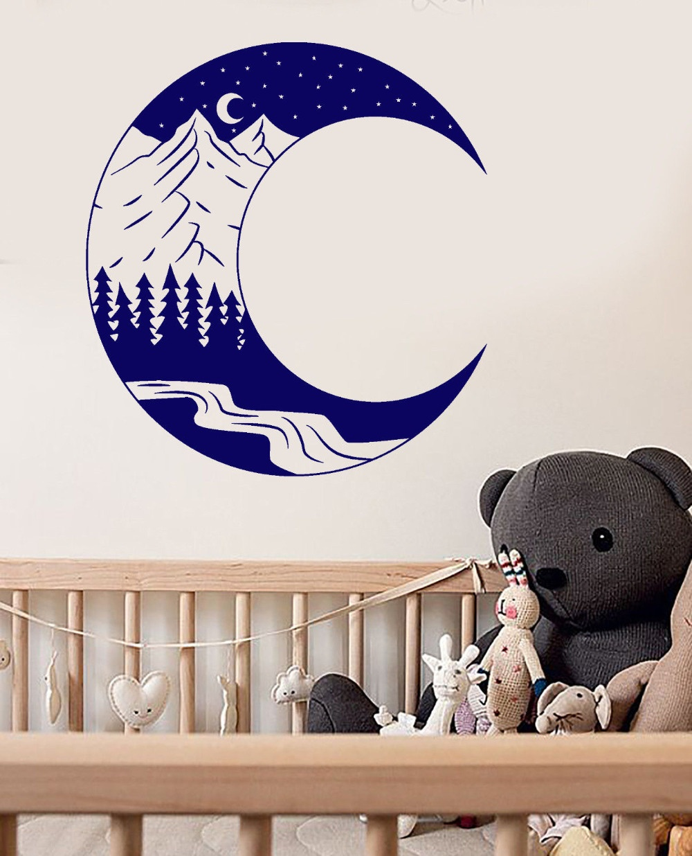 Landscape Forest Mountain Moon Vinyl Wall Art Decals For