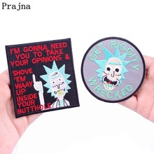 Prajna Rick And Morty Patches Cartoon Bean Embroidered Iron On Clothes DIY Movie Patch For Kids T-shirt Jacket Decor