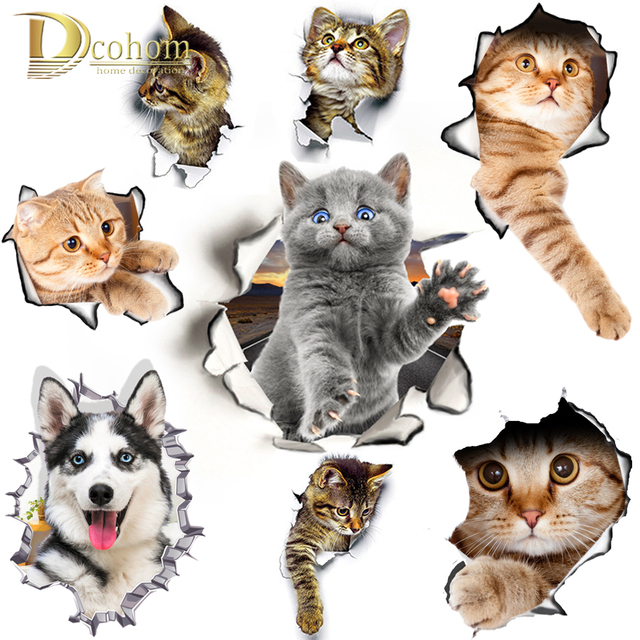 Hole View Cat Dog 3D Wall Sticker Bathroom Toilet Kids Room Decoration Wall Decals Sticker Refrigerator Waterproof Poster Hole View Cat 3D Wall Sticker Hole View Cat 3D Wall Sticker HTB1tRA7qQ9WBuNjSspeq6yz5VXai