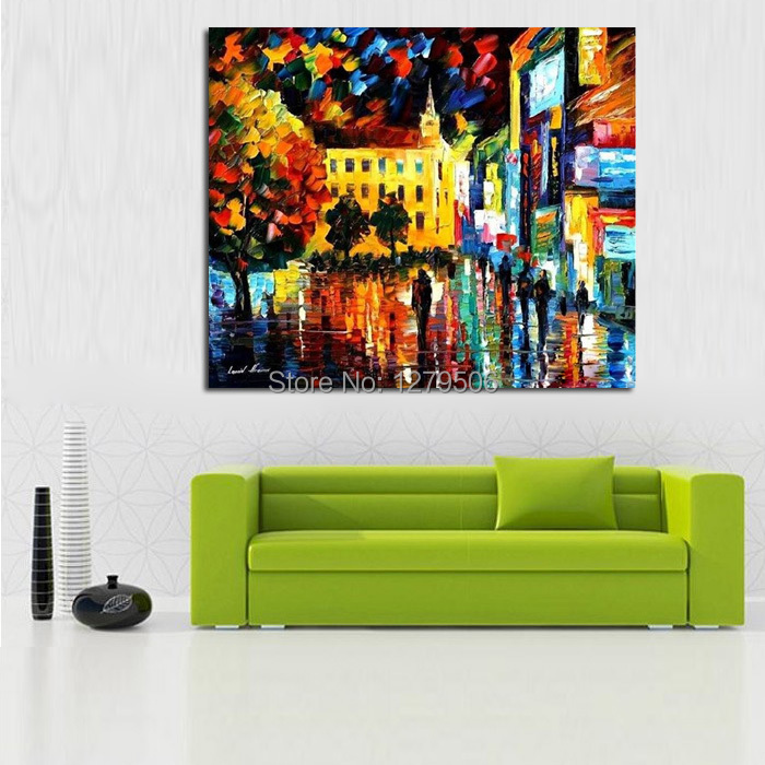 100 Handpainted Abstract Rainy City Night Knife Oil Painting On Canvas Thick For Home Decor As Best Gift in Painting Calligraphy from Home Garden