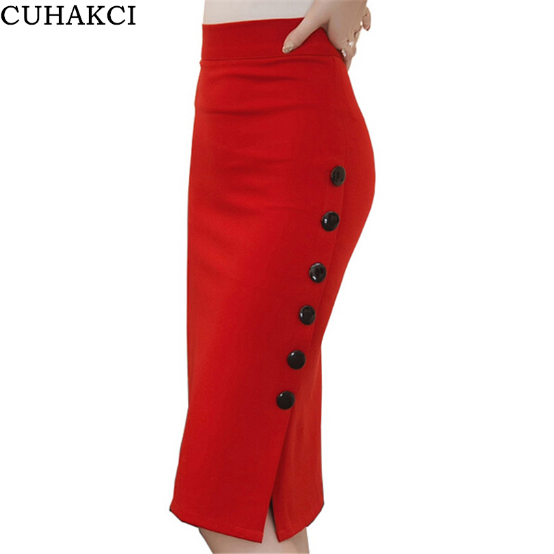CUHAKCI Women Midi <font><b>Skirt</b></font> Plus Size <font><b>5XL</b></font> New 2017 Slim <font><b>Sexy</b></font> Open Slit Button Red Black Pencil <font><b>Skirt</b></font> Elegant High Waist <font><b>Skirts</b></font> image