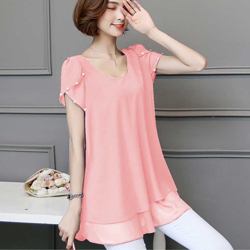 New Womens Tops Fashion 2019 5XL Women Summer Chiffon   Blouse   Plus Size Beading Petal Short Sleeve Casual   Shirt   Pink Black Blue