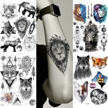 Fashion Triangle Africa Lion Black Custom Temporary Tattoos Stickers Fake Waterproof Body Arm Tattoo Hands Painting Wolf Tatoos(China)