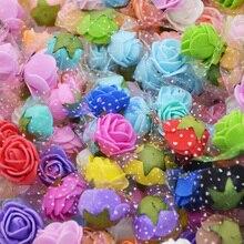 50Pcs 2cm PE Foam Rose Head for Wedding Decoration DIY Pompom Decorative Wreath Artificial Flowers Silk