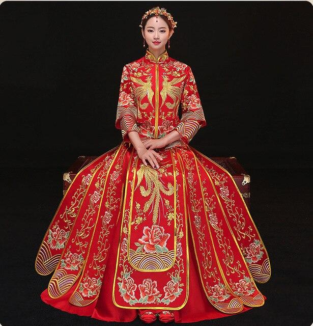 1b37f4bc7 2019 Fashion Red Cheongsam Long Qipao Wedding Dress Chinese Traditional  Dresses China Clothing Store Summer Women Sexy Flowers