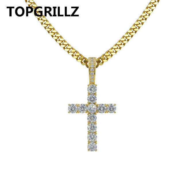 TOPGRILLZ Ankh Necklace Egyptian Jewelry Gold Color Hip Hop Pendant