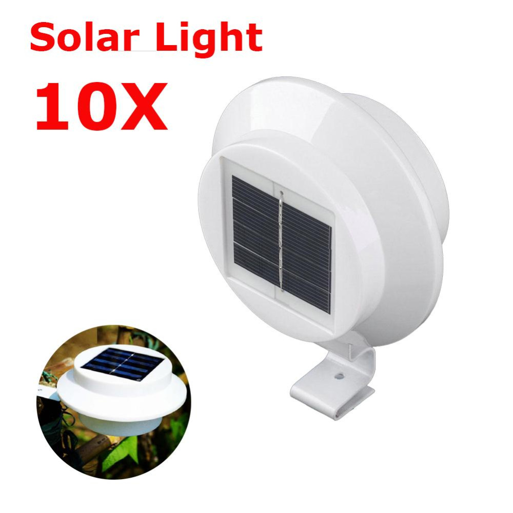 10X 3 LED Solar Lamp Gutter White Light Fence Garden Light ON OFF Outdoor Lighting Yard