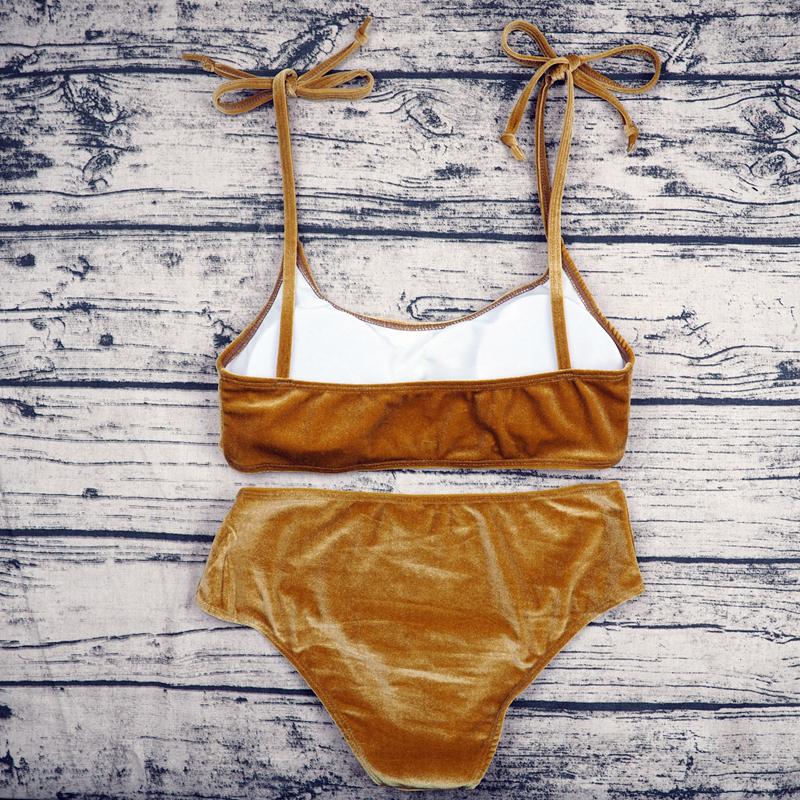Sexy Brazilian Bikini 17 Blue Velvet Swimwear Women Swimsuit Push up Biquini Halter Bikinis Set Bathing Suit Maillot De Bain 19