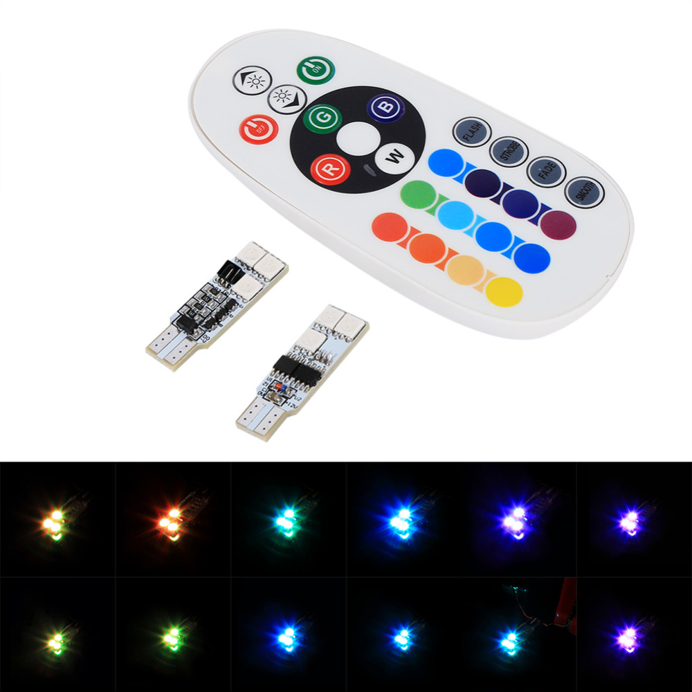 1 pair t10 rgb multi colors changing led lamp colorful car interior light with remote control in. Black Bedroom Furniture Sets. Home Design Ideas