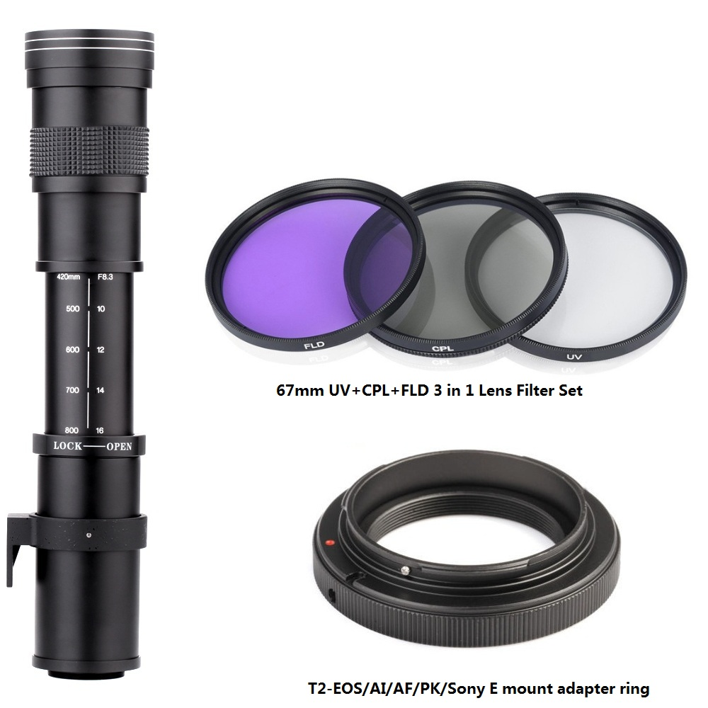 420-800mm F8.3-16 Super Telephoto Manual Zoom Lens+T2 Adapter Ring+3 in 1 Lens Filter for Canon Nikon Sony Pentax DSLR Cameras420-800mm F8.3-16 Super Telephoto Manual Zoom Lens+T2 Adapter Ring+3 in 1 Lens Filter for Canon Nikon Sony Pentax DSLR Cameras