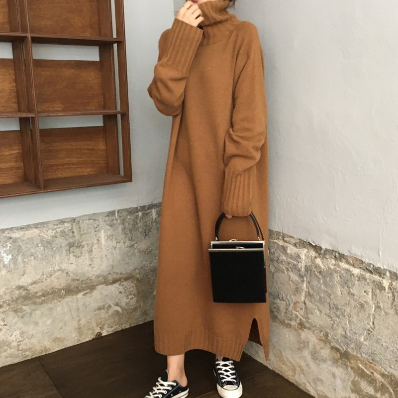 2019 Women's Sweater Dress Turtleneck Warm Sweater Dress Fashion Rib loose Knitted Dress Long Sleeves Female Dresses