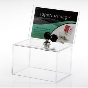 Image 2 - Acryl Spende Sammlung Box, Plexiglas Charity Fundraising Box mit Keylock für Kirche, nicht profitable Gruppe, Charity