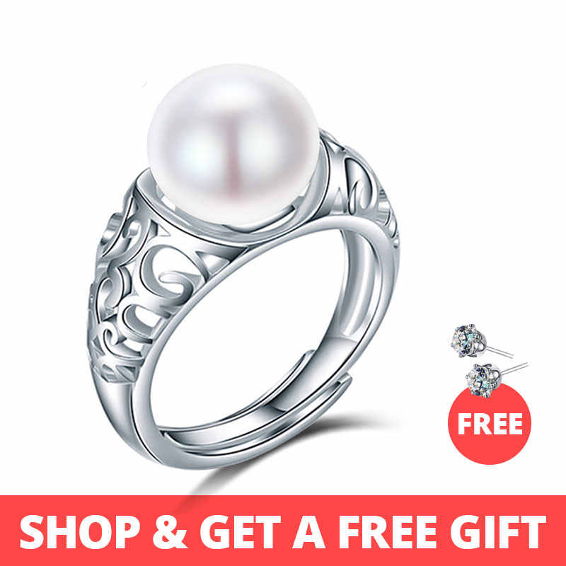 Dainashi top quality luxury brand 925 sterling silver natural freshwater pearl adjustable rings for women fashion fine jewelry