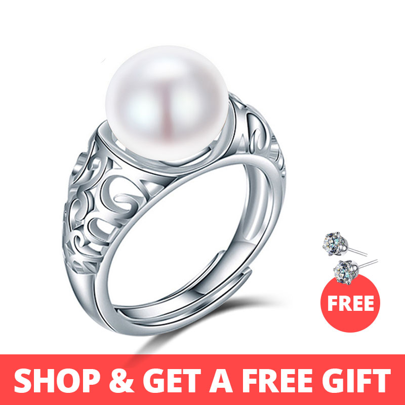 Dainashi top quality luxury brand 925 sterling silver natural freshwater pearl adjustable rings for women fashion fine jewelryDainashi top quality luxury brand 925 sterling silver natural freshwater pearl adjustable rings for women fashion fine jewelry