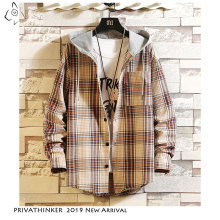 Privathinker 2020 Autum Causal Pocket Patchwork Plaid Coat Hooded Cotton Shirt Mens Streetwear Harajuku Long Sleeve Shirts Male