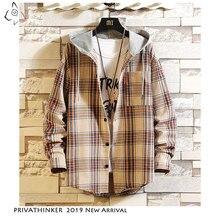 Privathinker 2020 Autum 인과 포켓 패치 워크 격자 무늬 코트 후드 티 코튼 셔츠 남성 Streetwear 하라주쿠 긴 소매 셔츠 남성
