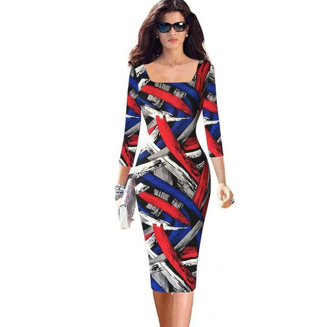 2016 Plus Size 4XL 5XL Womens Elegant Vintage Rockabilly Colored Stripe Print Slim Pinup Casual Spring Party Pencil Fitted Dress