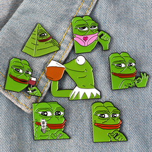 2019 new creative cartoon brooch frog funny series brooch alloy badge men and women fashion jewelry bag hat pin to friends gifts creative personality gestures alloy brooch enamel pin mini badge bag clothes jewelry gifts to friends fxm