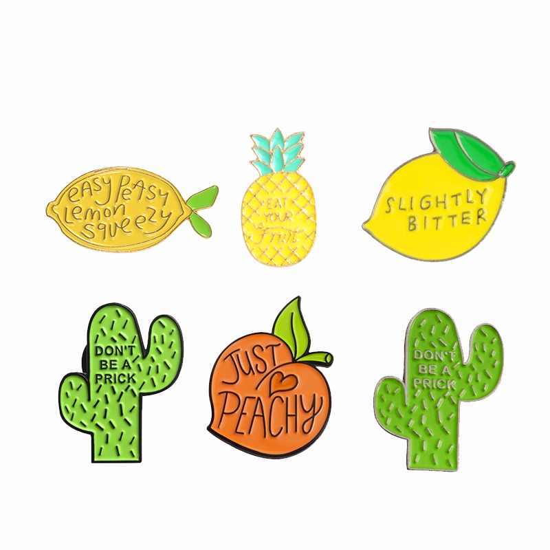 Lemon peach pineapple cactus enamel pin Plant fruit badge brooch Lapel pin Denim Jean shirt bag Cartoon Jewelry Gift for kids