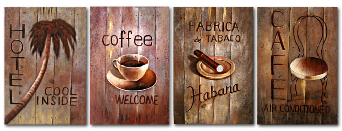 Free shipping the coffee shop decoration painting artwork with ...