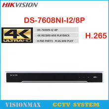 Hikvision 4K NVR 2SATA 8 POE 8CH Embedded Plug DS-7608NI-I2/8P Support H.265 H.264 video formats English version for IP camera