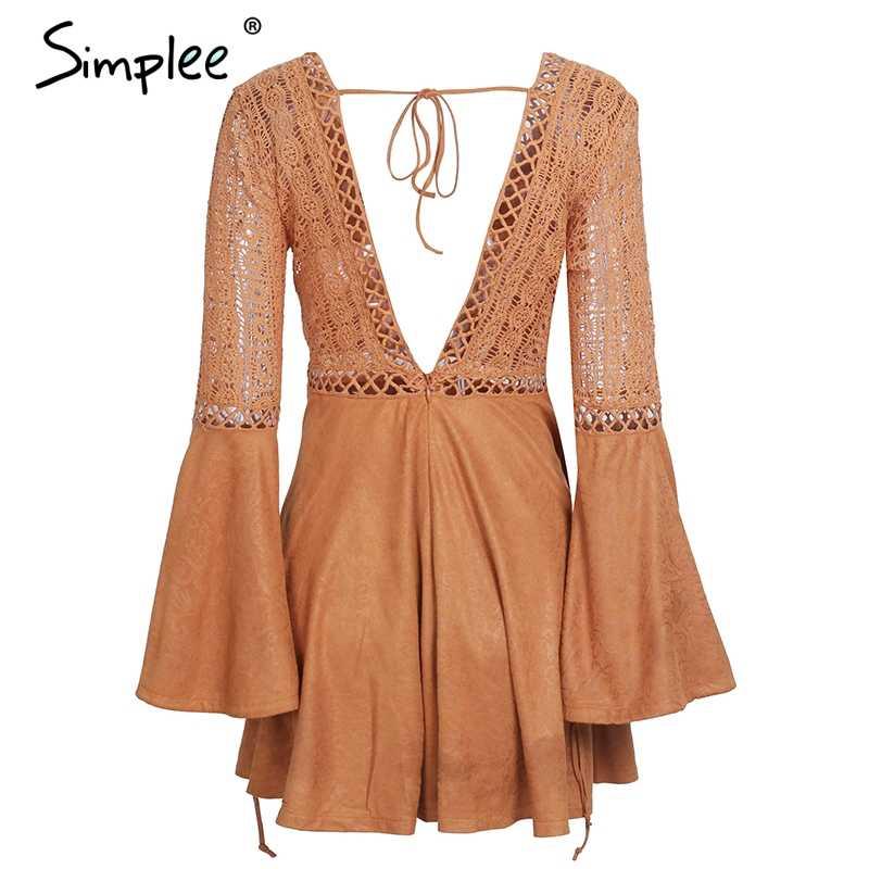 Женское осенне-зимнее платье Simplee, сексуальное замшевое вечернее платье с V-образным вырезом, с кружевом, перфорацией и расклешенным рукавом, рождественское платье