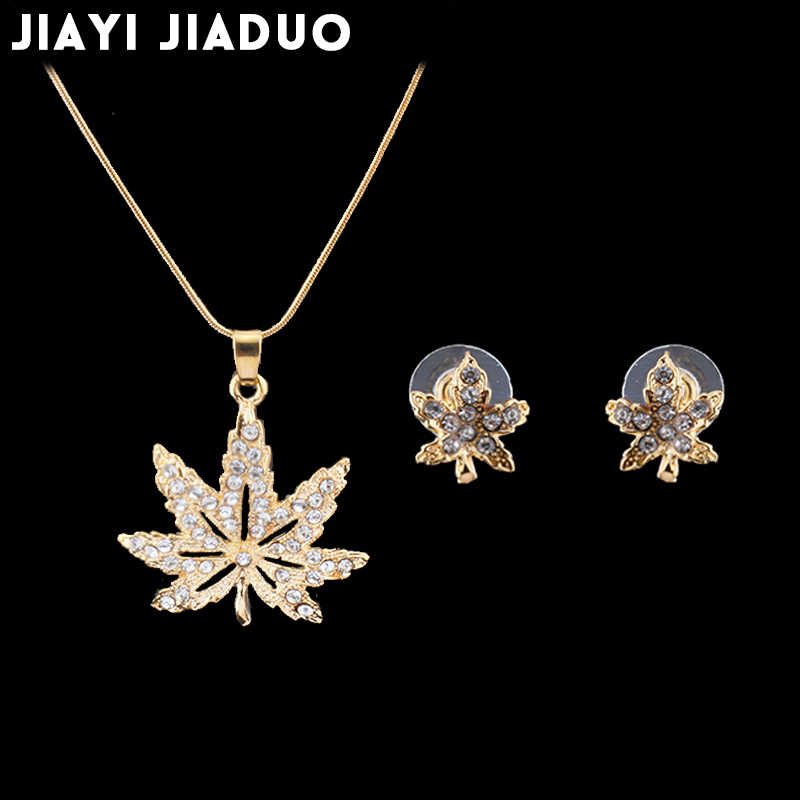 jiayijiaduo Wedding Jewelry Set female fashion gold-color necklace earrings crystal maple leaf Nigeria Valentine's Day gift