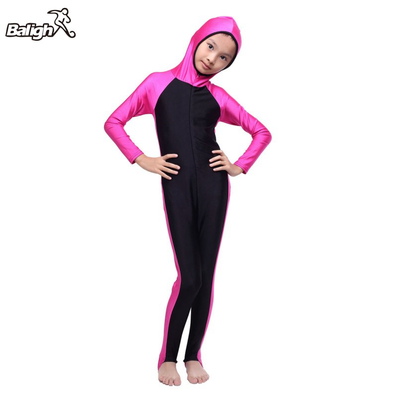 New Muslim Arab Kids Girls Modest Swimwear Full Cover Swimsuit Islamic Beachwear 2-14Y promoting social change in the arab gulf