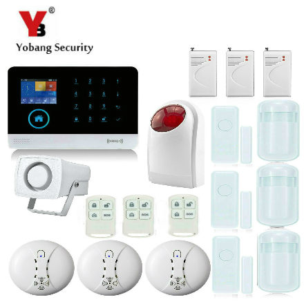 YobangSecurity Touch Keypad Wifi GSM GPRS RFID Alarm Home Burglar Security Alarm System Android IOS APP Control Wireless Siren wireless smoke fire detector for wireless for touch keypad panel wifi gsm home security burglar voice alarm system