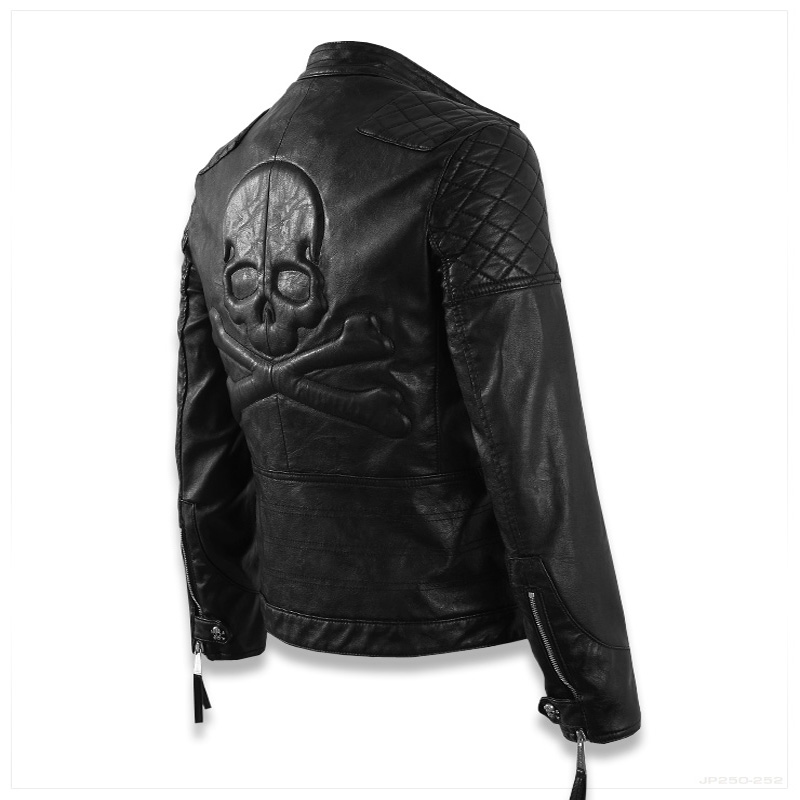 Hot ! High quality new Spring fashion leather jackets men, men's leather jacket brand motorcycle leather jackets skull M-5XL 2