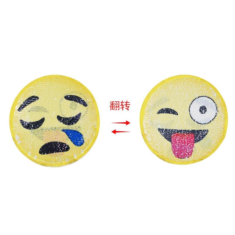 Reversible Pailletten Nähen auf Patches Mantel Pullover bestickt Emoji Patch Hot