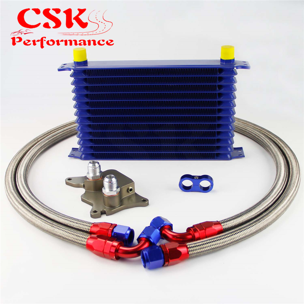 13 Row 262mm AN10 Trust Oil Cooler Kit Fits For BMW Mini Cooper R56 Supercharger Black/Gold/Blue