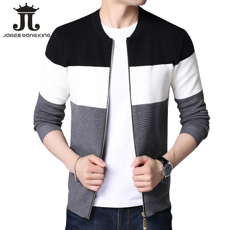 Cardigan Men New 2018 Winter Thick Warm Sweater Coat Knitted Cardigans Man Casual Zipper Striped Sweater FK-8352