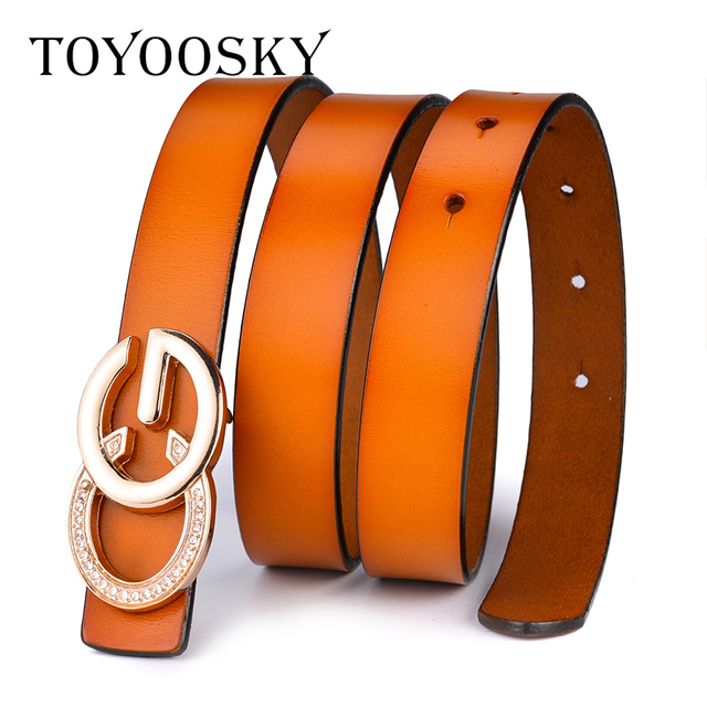 TOYOOSY 2019 New Arrival Women G Belt Luxury Brand Genuine Leather Metal Smooth Buckle Cowskin Female Belt Thin Belt for Jeans