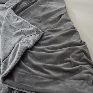 Image 5 - Ebene Gefärbt Super Weiche Kaninchenfell Decke Grau Coffe Farbe luxus Faux Pelz Nerz Werfen Frühling Herbst Sofa Couch Flugzeug decke