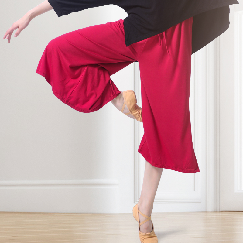 Loose Ballroom Ballet Dance Pants Solid Color Wide Leg Pants Women High Waist Elastic Trousers