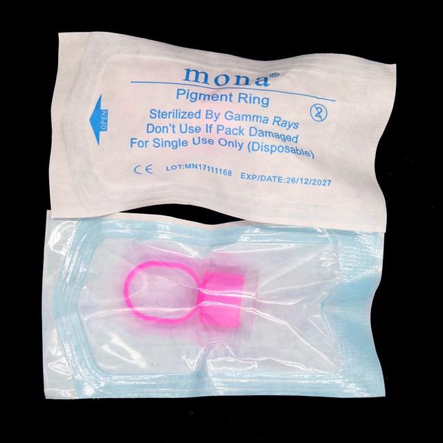 100PcsรอยสักSupplyแหวนถ้วยเครื่องมือMicroblading Pigmentผู้ถือเครื่องสำอางค์แต่งหน้าถาวรTattooหมึกถ้วยฟองน้ำ