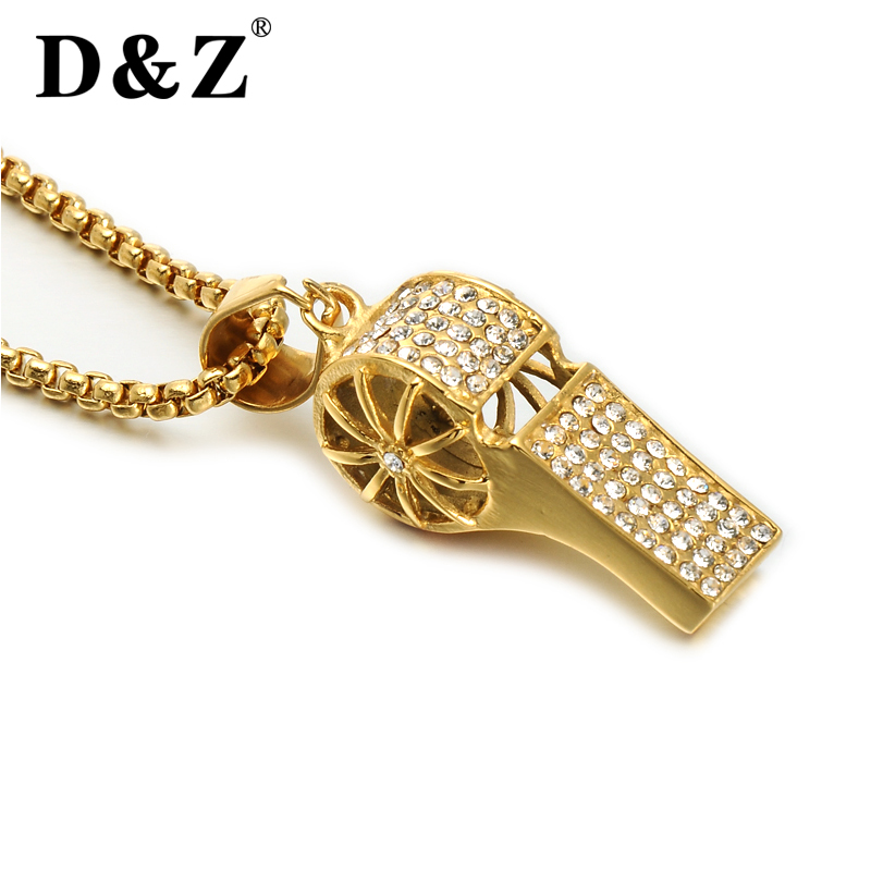 D&Z Hip Hop Full Rhinestone Bling Iced Out Titanium Competitive Whistle Pendants Necklace with 24inch Stainless Steel Gold Chain