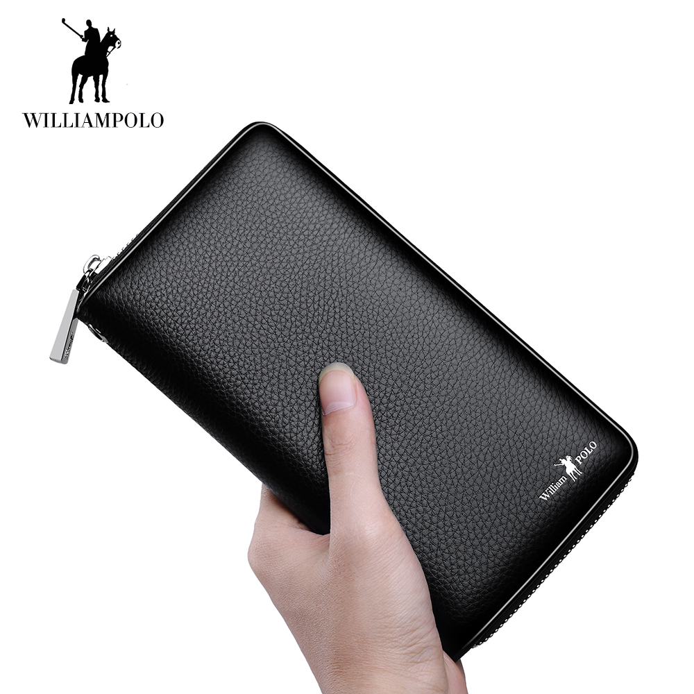 WilliamPOLO Clutch Bag Long Wallet Men Accordion Credit Card Holder Genuine Leather Phone Purse Multi Card with Zipper Pocket125