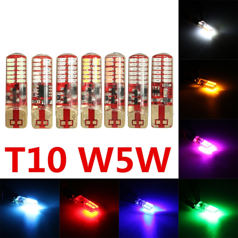 T10 W5W Silica Gel 194 168 3014 24 SMD LED Side Strobe Flash Flashing Light Bulb White Yellow Red Blue Green Ice Blue Pink