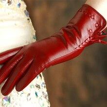 Fashion Women style Genuine Leather Gloves Top Quality Goatskin Wrist Warm Winter Female 2317