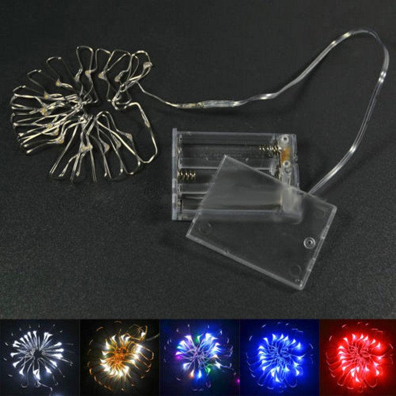 5M 50 LED à piles LED guirlandes de fils de cuivre pour la - Éclairage festif - Photo 6