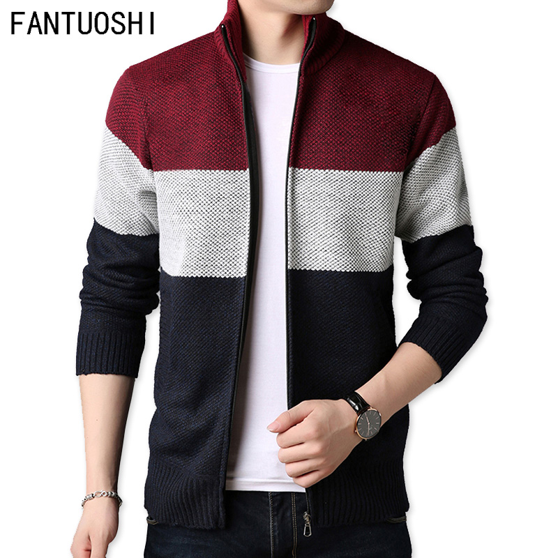 2019 New Autumn Men's Knitted Sweaters Fashion Long Sleeve Stand Collar Male Cardigan Stitching Sweaters Casual Coat Brand Men's