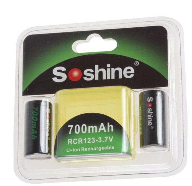 2pcs/set Soshine RCR123 16340 Battery 700mAh 3.7V Rechargeable Lithium Li-ion bateria + Battery Case Storage Box