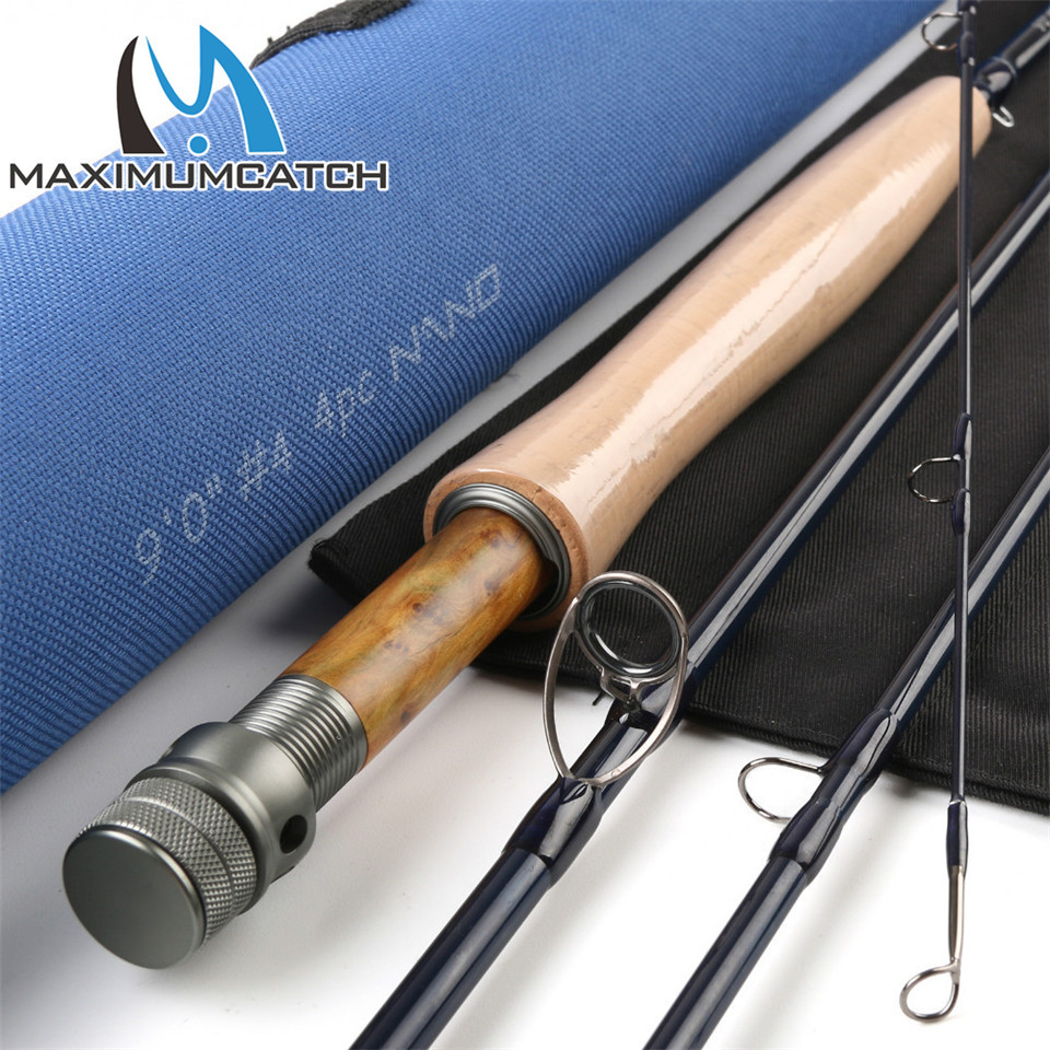 Maximumcatch Nano 9ft 4wt 4pcs Fly rod Half-well Fast Action IM12 High modulus Carbon Fiber Fly fishing rod with Cordura tube maximumcatch brand nano fly fishing rod 8 4ft 3wt 4pcs with cordura tube nano fly rod