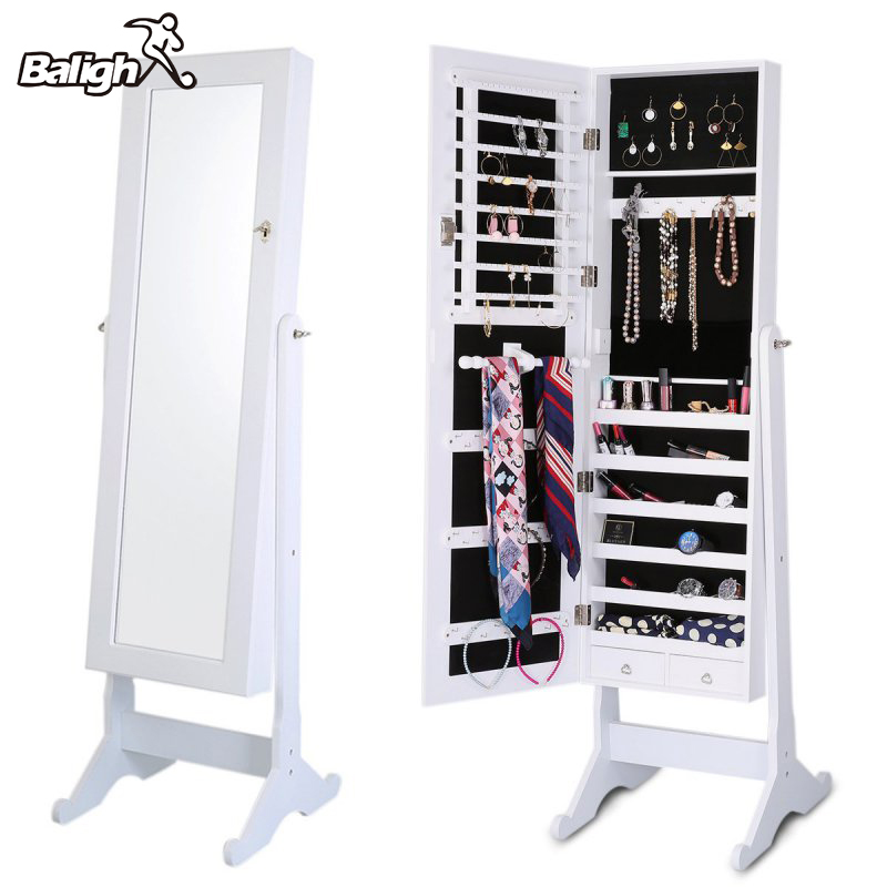 Balight Indoor Home Square Floor Type Mirror Cabinet Organizer Sports Accessories Cosmetics Jewelry Storage Cabinet Ship From US
