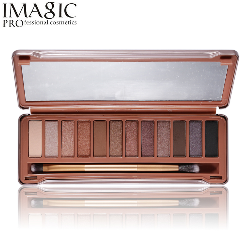 Imagic Makeup Brand 12 Colors Matte Eyeshadow Palette Shimmer Eye Shadow Naked Make Up Set Professional Cosmetics With Brush