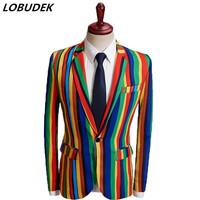 England Style Men's Formal Suit Coat Colorful Stripe Fashion Slim Blazers Male Singer Host Star Evening Party Show Stage Costume