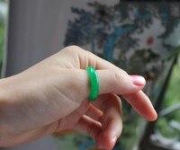 Anillo de jade Natural de jade verde seco tiras a todo color Yang anillo verde