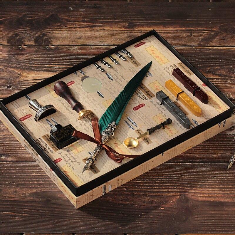 Coffret cadeau Vintage Harry Potter métal courbé naturel plume de dinde ensemble avec 5 plumes, stylo support, cire, nom sceau, Quil - 4